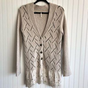 Free People Wool Blend Open Knit Cardigan Lace M